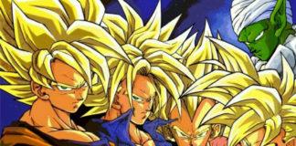 Goku, Trunks do Futuro, Vegeta e Gohan super saiyajins Dragon Ball Z