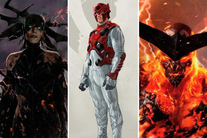 Artes conceito Hela, Thor e Surtur Thor: Ragnarok