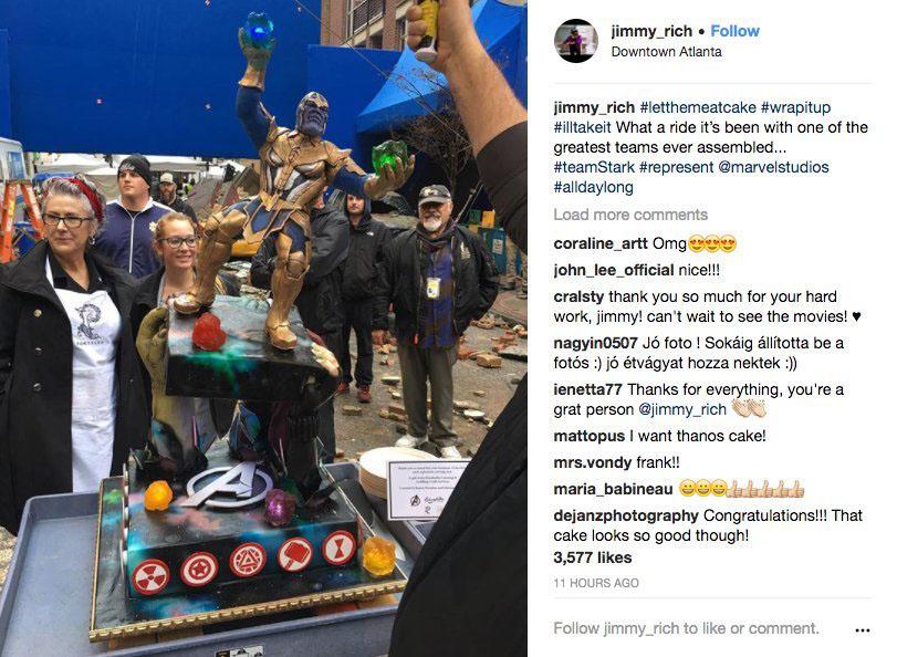 Bolo Thanos em comemoração término das filmagens Vingadores 4
