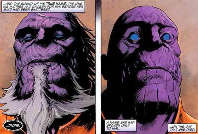 Thanos revela seu nome para si mesmo