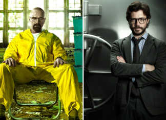 Walter White Breaking Bad e El Professor La Casa de Papel