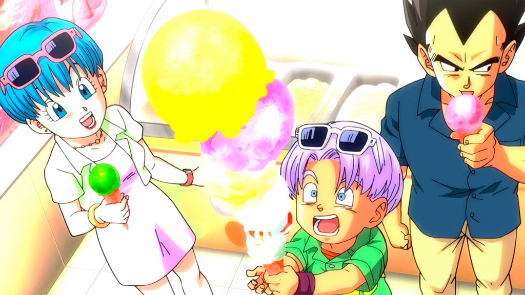 Bulma, Trunks e Vegeta Dragon Ball Super ep. 128