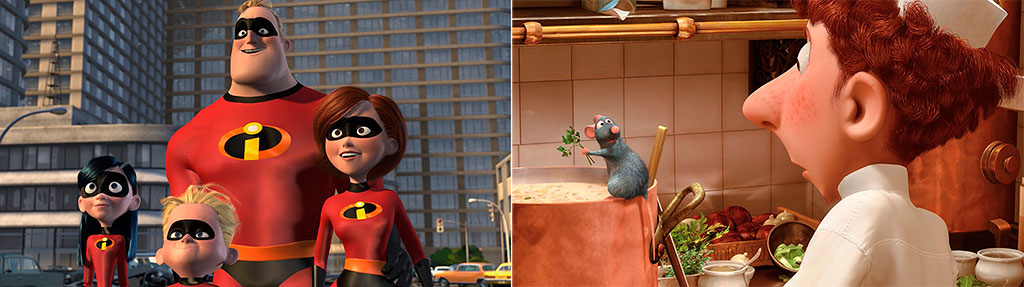 Os Incríveis (2004) e Ratatouille (2007) Pixar