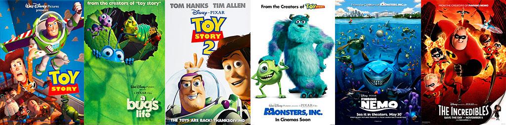 Posteres 6 Primeiras animações Pixar