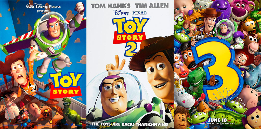 Posteres Toy Story 1, 2 e 3