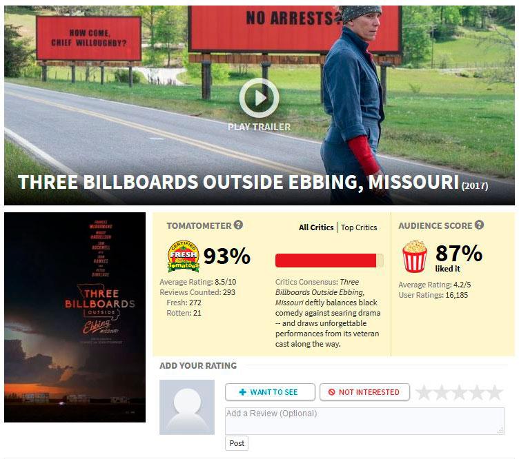Três Anúncios Para um Crime Rotten Tomatoes