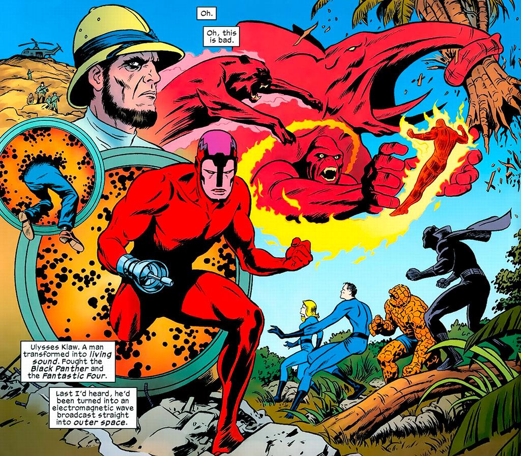 Ulysses Klaw x Quarteto Fantástico e Pantera Negra