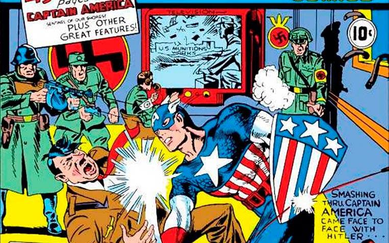 Capitão América socando Adolf Hitler