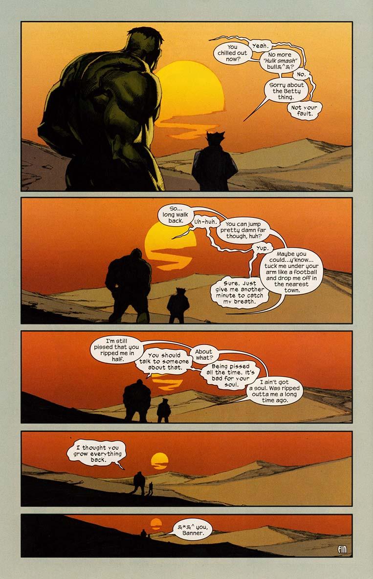 Hulk e Wolverine admiram o pôr do sol