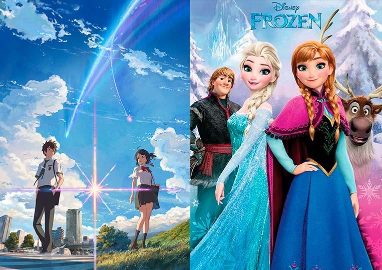 Poster Kimi no Na wa (2016) e Frozen (2013)