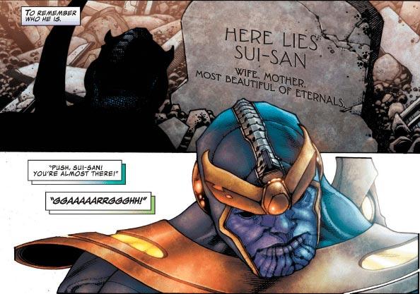 Thanos em frente ao túmulo de Sui-San, sua mãe