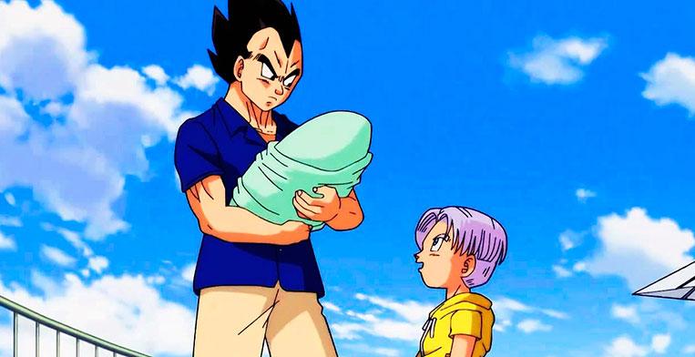 Vegeta segurando sua filha Bra no colo