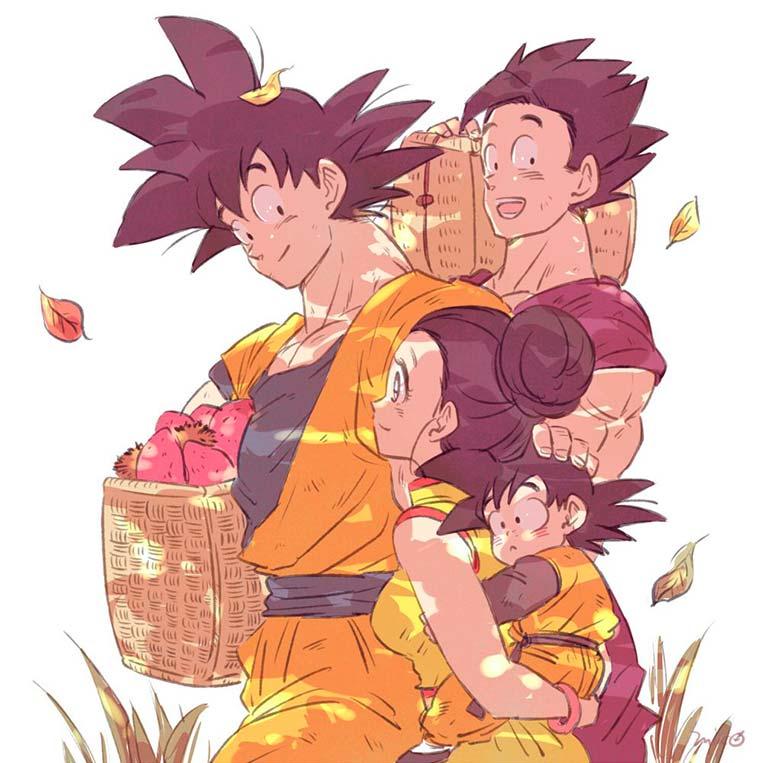 Goku, Goha, Chi-Chi e Goten