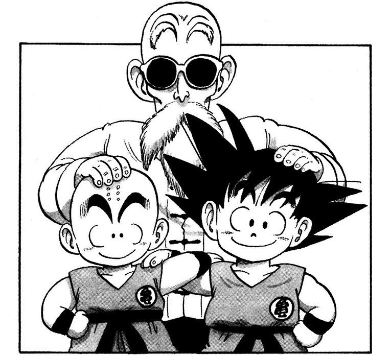 Goku, Mestre Kame e Kuririn Dragon Ball