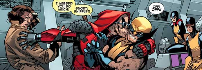 Deadpool beijando o Wolverine