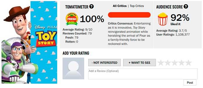 Toy Story recebeu 100% de aprovação no Rotten Tomatoes