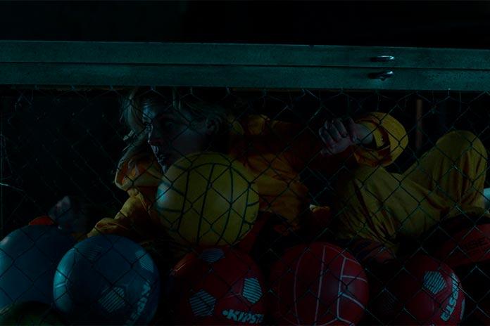 Maca no cesto de bolas de basquete